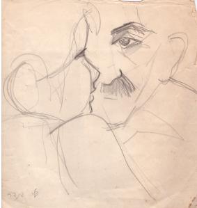 """יונתן רטוש. רישום עיפרון של צילה בינדר (ארכיון """"גנזים"""")"""